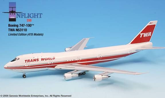 TWA 747-100 - 80s Bold Titles (1:200), InFlight 200 Scale Diecast Airliners Item Number IF741008