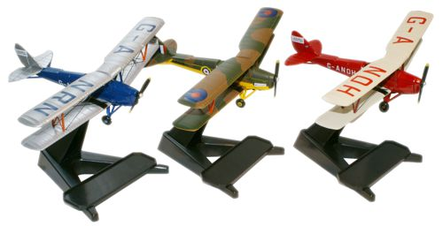 de Havilland DH.82A Glasmoth Expedition, April, 1989 (1:72) - Set of Three Planes, Oxford Diecast 1:72 Scale Models Item Number 72TM004