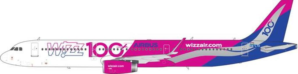 Wizz Air A321 100th Airbus HA-LTD (1:400), Phoenix 1:400 Scale Diecast Aircraft, Item Number PH4WZZ1840