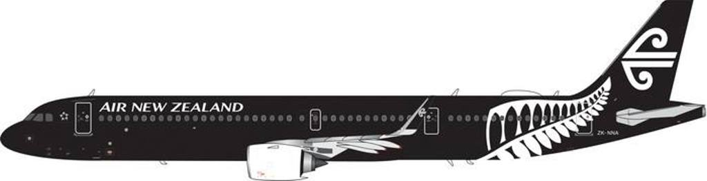 "Air New Zealand A321neo ""All Black"" ZK-NNA (1:400) - , Phoenix 1:400 Scale Diecast Aircraft, Item Number PH4ANZ1842"