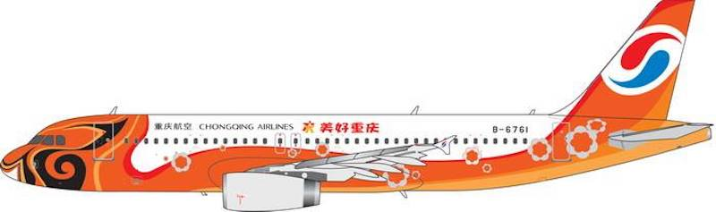 "Chongqing Airlines A320-200 ""MeiHao Chongqing"" B-6761 (1:400)- Preorder item, order now for future delivery, Phoenix 1:400 Scale Diecast Aircraft, Item Number PH4CQN1856"