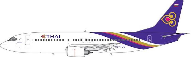 Thai Airways B737-400 (Old Titles) HS-TDG (1:400)- Preorder item, order now for future delivery, Phoenix 1:400 Scale Diecast Aircraft, Item Number PH4THA1858
