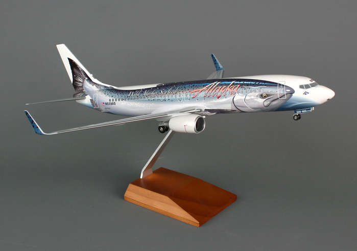 Alaska 737-800 (1:100) Salmon Thirty Salmon W/GEAR by Skymarks Supreme Desktop Aircraft Models item number: SKR8238