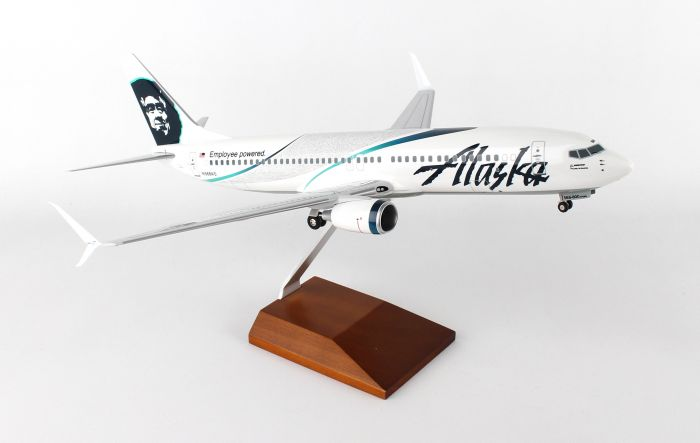 "Alaska 737-800 ""Employee Powered"" With Gear & Wood Stand (1:100) by Skymarks Supreme Desktop Aircraft Models item number: SKR8246"