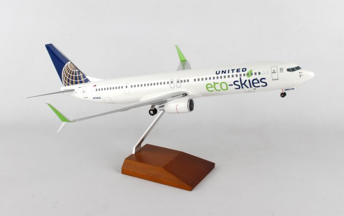 "United 737-900ER (1:100) ""Eco Skies"", With Wood Stand & Gear by SkyMarks Airliners Models item number: SKR8247"