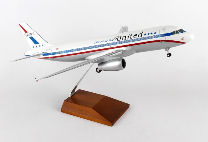 "United A320 (1:100) ""Friendship"" With Wood Stand & Gear by Skymarks Supreme Desktop Aircraft Models item number: SKR8318"