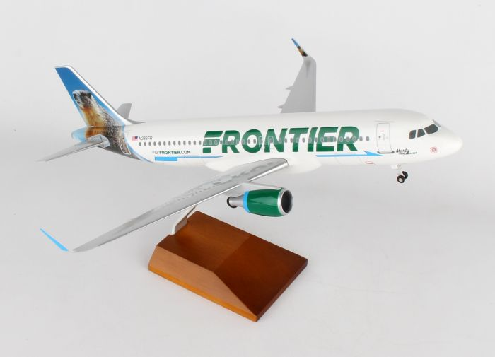 "Frontier A320 ""Marty the Marmot"" (1:100) by Skymarks Supreme Desktop Aircraft Models item number: SKR8330"