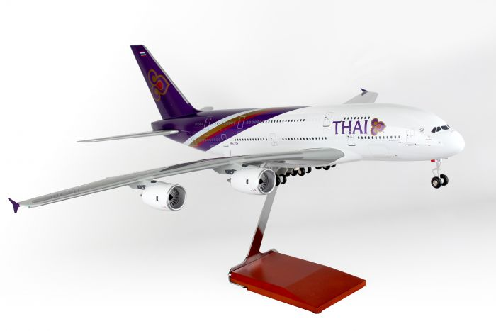 Thai Airlines A380-800 W/Wood Stand & Gear (1:100) by Skymarks Supreme Desktop Aircraft Models item number: SKR8505