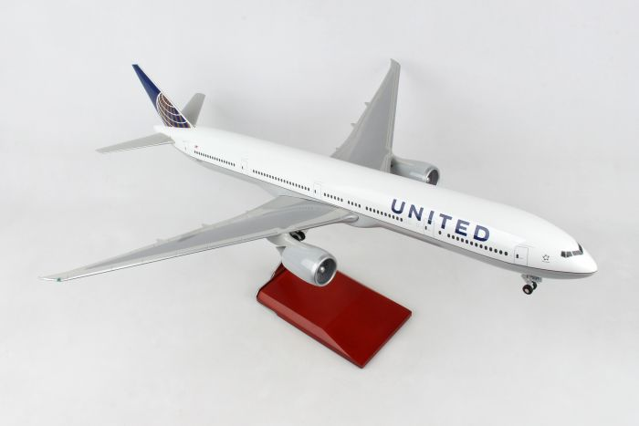 United 777-300 With Wood Stand & Gear (1:100) by Skymarks Supreme Desktop Aircraft Models item number: SKR9403
