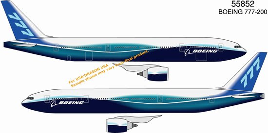 Boeing 777-200 New Dreamliner House Colors (1:400), DragonWings 400 Diecast Airliners Item Number DRW55852