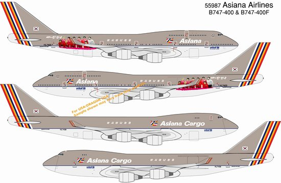 Asiana Airlines B747-400 & B747-400F Cargo (Twin Pack)(1:400)