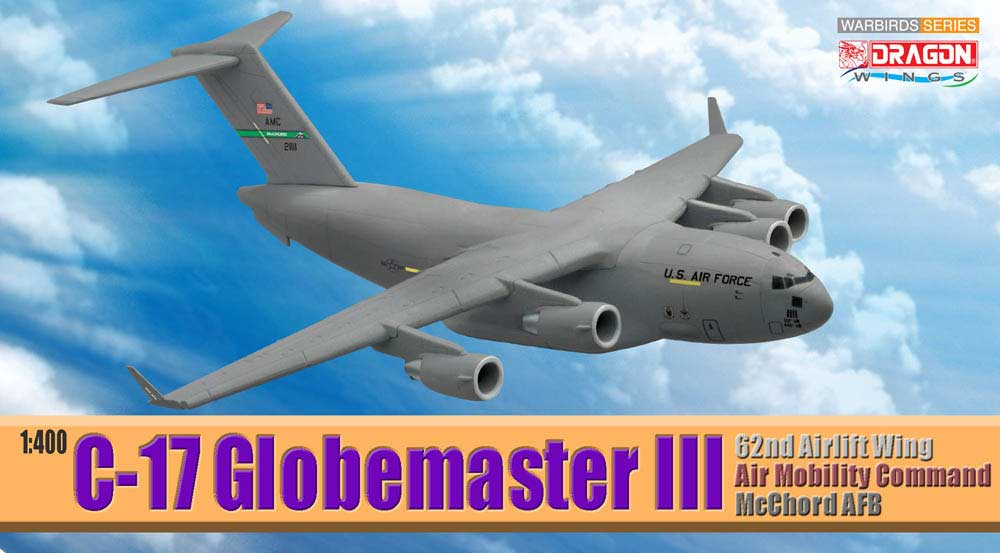 C-17 Globemaster III 62nd Airlift Wing Air Mobility Command McChord AFB (1:400), DragonWings 400 Diecast Airliners Item Number DRW56261