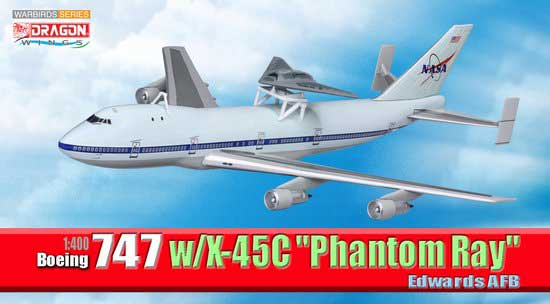 "Boeing 747 w/X-45C Phantom Ray"" Edwards AFB (1:400)"", DragonWings 400 Diecast Airliners Item Number DRW56330"