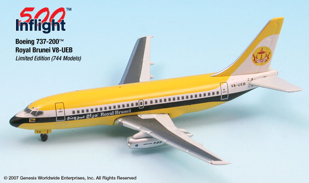 Royal Brunei 1985 737-200 (1:500), InFlight 500 Scale Diecast Airline models Item Number IF5732006