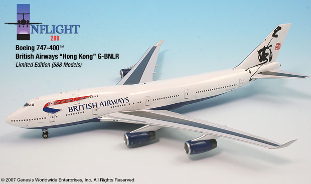 British Airways B747-400 Hong Kong (1:200), InFlight 200 Scale Diecast Airliners Item Number IF744005
