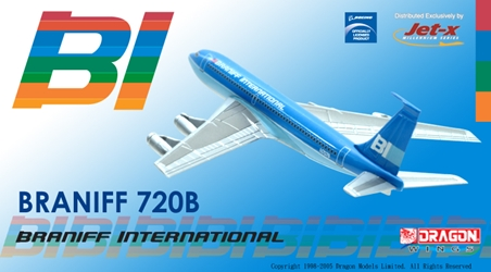 "Braniff International 720 - ""Blue"" Flying Colors (1:400), Jet X 1:400 Diecast Airliners Item Number JET112"
