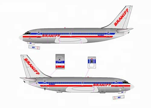 "Braniff/American 737-200 ""Airline Hybrid Colors"" - N458AC, Chrome (1:400), Jet X 1:400 Diecast Airliners Item Number JET590"