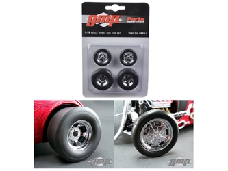 Chromed Hot Rod Drag Wheels and Tires Set of 4 (1:18)
