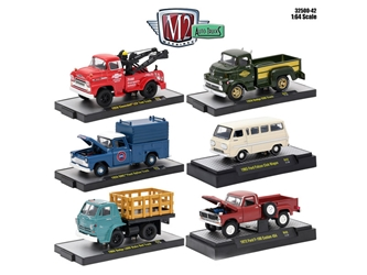Auto Trucks 6 Piece Set Release 42 IN DISPLAY CASES 1/64 Diecast Model Cars by M2 Machines