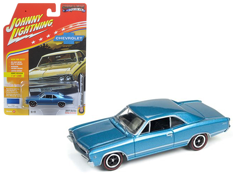 "1967 Chevrolet Chevelle Blue ""Muscle Cars USA"" 1/64 Diecast Model Car by Johnny Lightning"