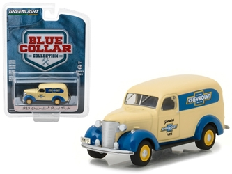1939 Chevrolet Panel Truck Genuine Chevrolet Parts Blue Collar Collection Series 3 1/64 Diecast Model Car by Greenlight