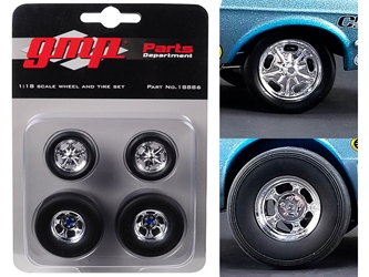 Wheels and Tires Set of 4 from Ohio George?s 1967 Ford Mustang Malco Gasser 1/18 by GMP