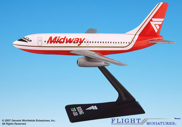 Midway 737-200 (1:200), Flight Miniatures Snap-Fit Airliners, Item Number BO-73720F-002