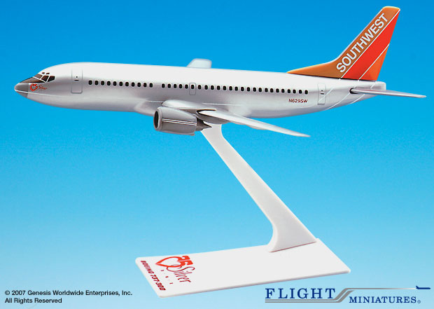 "Southwest 737-300 ""Silver One"" (1:200), Flight Miniatures Snap-Fit Airliners, Item Number BO-73730H-201"