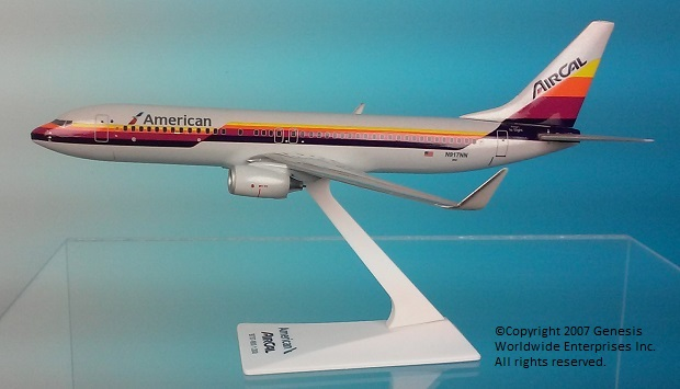 American / Air Cal 737-800 (1:200), Flight Miniatures Snap-Fit Airliners, Item Number BO-73780H-033