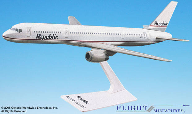 "Republic 757-200 ""Gray Scheme"" (1:200), Flight Miniatures Snap-Fit Airliners, Item Number BO-75720H-023"
