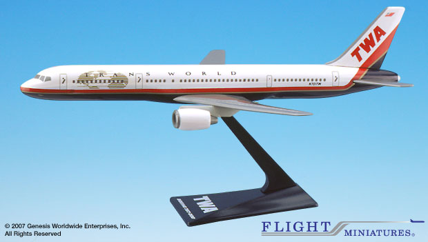TWA 757-200 (New Colors) (1:200), Flight Miniatures Snap-Fit Airliners, Item Number BO-75720H-029