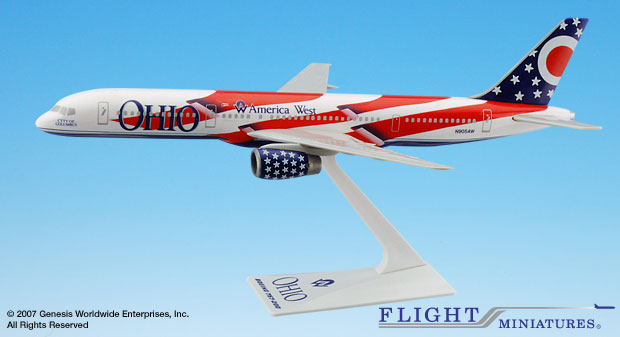 "America West 757-200 ""Ohio"" (1:200), Flight Miniatures Snap-Fit Airliners, Item Number BO-75720H-500"
