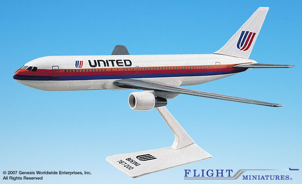 United 767-200 (Old Colors) (1:200), Flight Miniatures Snap-Fit Airliners, Item Number BO-76720H-002