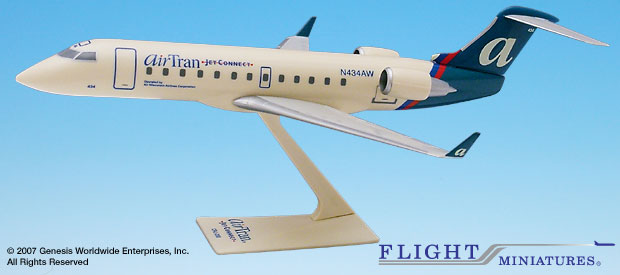 Airtran Jet Connect CRJ-200 (1:100), Flight Miniatures Snap-Fit Airliners, Item Number CA-20000C-008