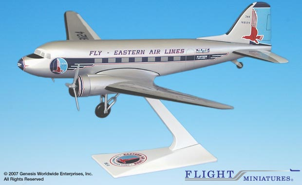 Eastern DC-3 (1:100), Flight Miniatures Snap-Fit Airliners, Item Number DC-00300C-006