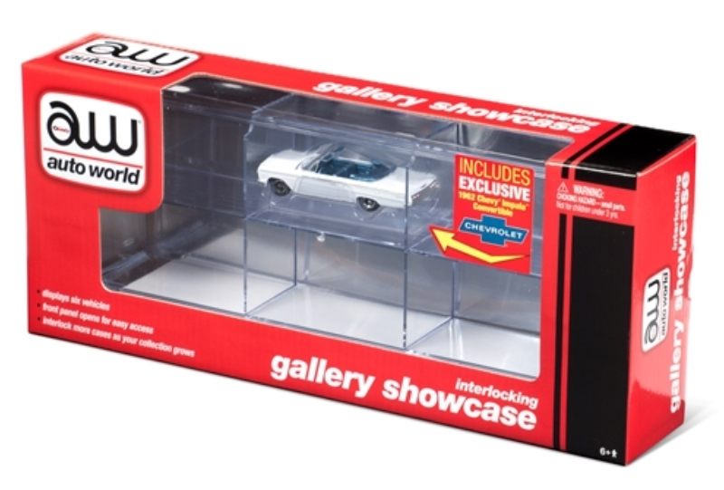 Six-Car Interlocking Acrylic Display Case with Exclusive Auto World Car (1:64)
