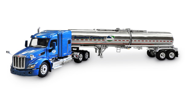 Superior Carriers - Peterbilt 579 with 72 Mid-Roof Sleeper and Brenner Chemical Tanker (1:64)