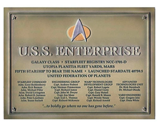 Star Trek - USS Enterprise NCC-1701-D Dedication Plaque -, Eagle Moss Item Number EMSTPLAQUE1