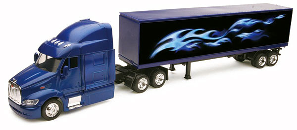 Peterbilt 387 Tractor with 40 Container in Blue with Flames (1:43)