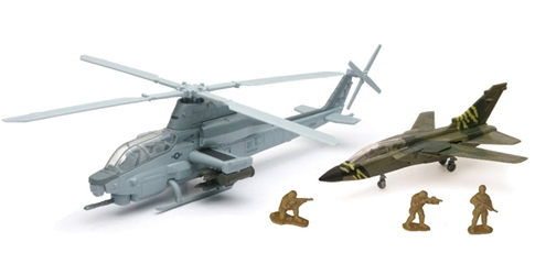 "Bell AH1Z Cobra with Tornado Jet and Soldier Figures 10"" (1:55) by New Ray Diecast Item Number: NR21843"