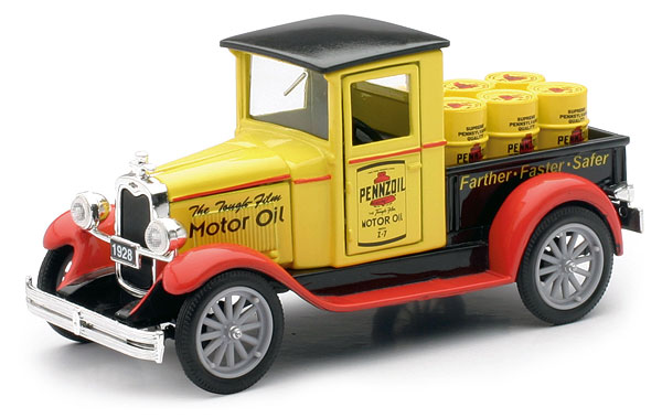 1928 Chevy Pennzoil Pickup Truck hauling oil barrels (1:32)