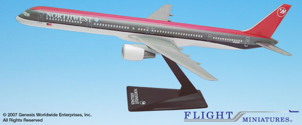 Northwest 757-300 (Old Colors) (1:200), Flight Miniatures Snap-Fit Airliners Item Number FMNWA004