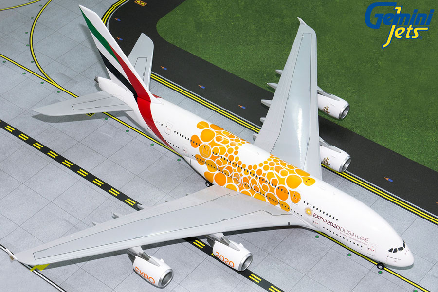 Emirates A380-800 (Orange Expo 2020) A6-EOU (1:200) by GeminiJets 200 Diecast Airliners Model number G2UAE758