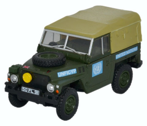 Land Rover 1/2-Ton Lightweight (Canvas), United Nations (1:76 OO Scale) by Oxford Diecast Military Vehicles