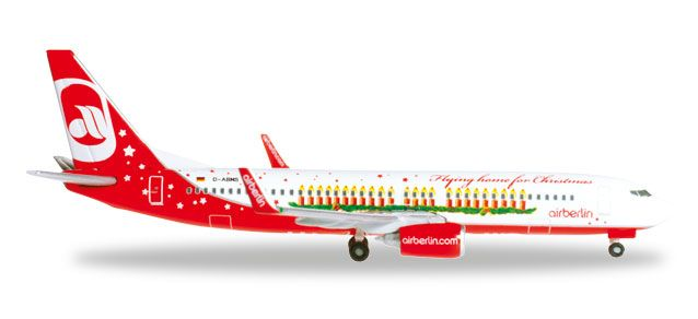 "Air Berlin 737-800 D-ABMS ""Flying Home For Christmas"" (1:500), Herpa 1:500 Scale Diecast Airliners Item Number HE527019"