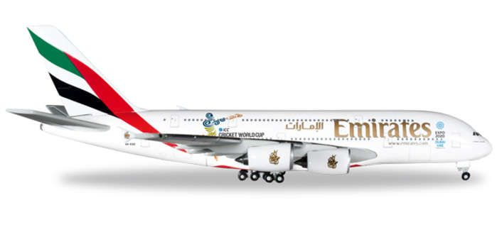 Emirates A380 A6-EDZ (1:500) Cricket World Cup 2015, Herpa 1:500 Scale Diecast Airliners Item Number HE527897