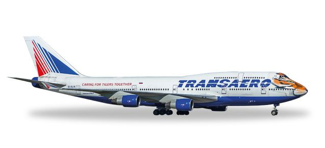 "Transaero Boeing 747-400 ""Amur Tiger"" EI-XLN (1:500), Herpa 1:500 Scale Diecast Airliners Item Number HE529464"
