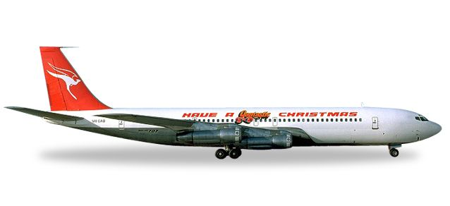 "Qantas Boeing 707-300C ""Have a Qantastic Christmas"" VH-EAB (1:500), Herpa 1:500 Scale Diecast Airliners Item Number HE529488"
