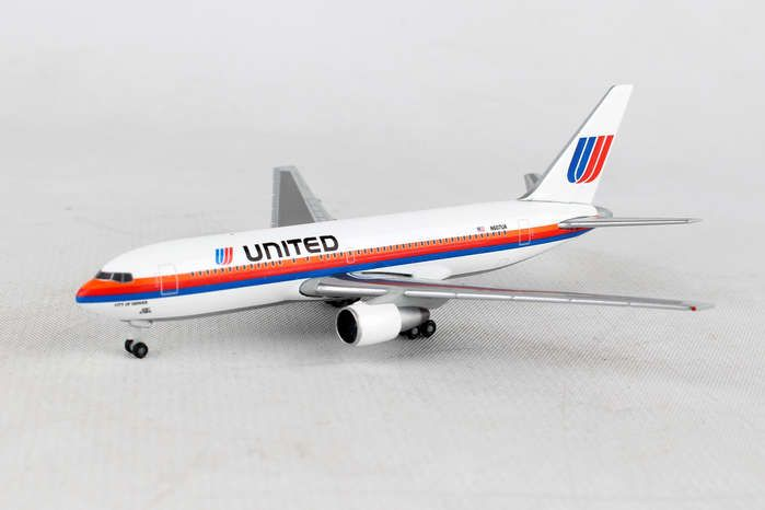 "United 767-200 N607UA ""City of Denver"" (1:500) Saul Bass Rainbow Livery, Herpa 1:500 Scale Diecast Airliners Item Number HE530187"