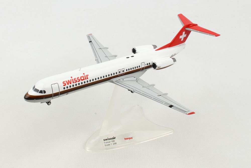 "Swissair Fokker F-100 HB-IVA ""Aarau"" (1:200) - Preorder item, order now for future delivery, Herpa 1:200 Scale Diecast Airliners Item Number HE559386"